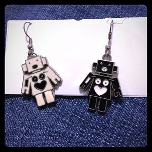 Robot Inverted Color Earrings